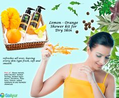 GoAyur Lemon - Orange Shower kit for Dry Skin : This Lemon - Orange shower kit absolutely refreshes cools and moisturizes your body with its special lemon and orange oils. Suitable for water-dry as well as oil-dry skin types. #LemonOrange #BodyWash #herbalbodywash #ayurvedicbodywash #NaturalCosmetics #herbalcosmetics #skincare #beautycare #MothersDay #GiftIdeas #GiftForHer #MothersDayGiftIdeas