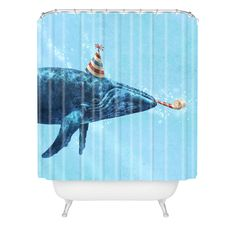 Terry Fan Party Whale Shower Curtain | DENY Designs Home Accessories