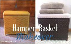 Hamper Basket Makeover - spray paint & drop cloth {My Sophia Ryan}