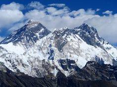 Trekking in Nepal! Mount Everest and Mount Lohtse, 1st and 4th tallest mountains in the world. Picture taken from 5400 meters. Beautiful View.