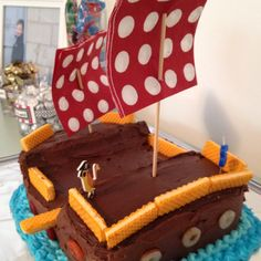 Adorable pirate cake for a little boys birthday by Kelly Lovell :)  Such a great DIY idea!! (happy birthday Jack!!)