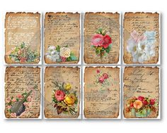 Digital Collage Sheet Love Letters Vintage Floral Digital Download Cards Scrapbooking Supplies Cards Set 45