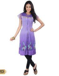 Purple Colour Kurta With Border Purple Lace On Bottom Of Kurta And Embroidery Work