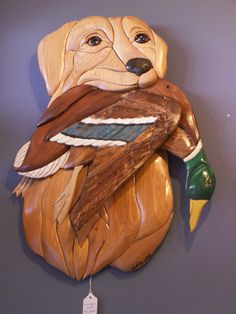 Handmade Intarsia Wood Dog Art Golden Retriever and Mallard  This is a very special gift - for the right person!