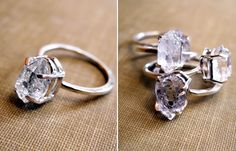 Herkimer diamond engagement rings (the are actually quartz crystal but have the look of clear diamonds)