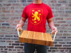 Solid Oak Chopping Block / Cutting Board with Loose Rope Handles. $189.00
