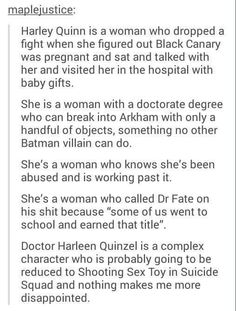 In my personal opinion, I think that they strayed away from this concept very well in the movie and I'm so thankful for that. Harley was a strong (albeit somewhat fucked over by the joker) badass lady in Suicide Squad. Loved it. Nananana Batman, Dc Memes, Batman Family, Joker And Harley Quinn, Young Justice, Geek Out, The Villain, Marvel Dc Comics, Teen Titans