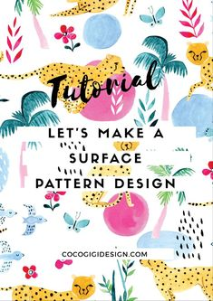 Video: How to make a watercolor repeat pattern - surface pattern design from scratch Gina Maldonado - Surface pattern design VIDEO tutorial Design Textile, Design Floral, Fabric Design, Pattern Design Drawing, Surface Pattern Design, Pattern Designs, Illustration Simple, Pattern Illustration, Graphic Illustrations