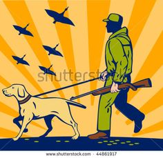 vector illustration of a Hunter with rifle walking with trained hunting gun dog #hunter #retro #illustration