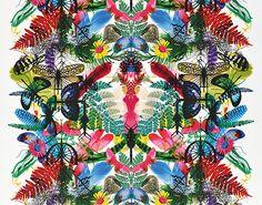 Nature psychedelique : Tissu Caribe Perroquet collection Nouveaux monde (Designer's guild).