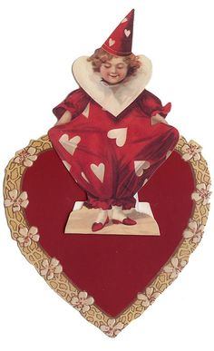 Red and White Valentine Clown Easel Card My Funny Valentine, Valentine Images, Valentines Art, Vintage Valentine Cards, Saint Valentine, Vintage Greeting Cards, Happy Valentines Day, Victorian Valentines, Easel Cards