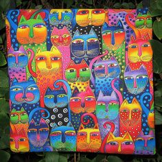 Laurel Burch Colorful Cats Satchel   Flickr - Photo Sharing!