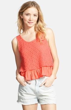 Taylor & Sage Crochet Overlay Swing Tank (Juniors) available at #Nordstrom