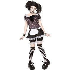 Gothic Rag Doll Costume (46 AUD) ❤ liked on Polyvore featuring costumes, outfits, costume, halloween costumes, party costumes, lace costume, raggedy ann halloween costume, skull costume and wig costumes