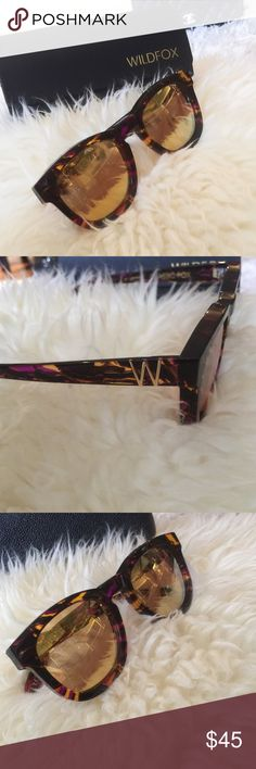 NWT Wildfox deluxe wayfarer sunglasses New in case. Buy more save more..!!    - Name: Classic Fox Deluxe - Style: Wayfarer - Size: 55-18-150mm (eye-bridge-temple) - Frame: Acetate - Color: Crystal Cove, Gold Glitter, Montage, Nightfall, Purple - Lens type: CR39 - Lens color: Black flash mirror (Crystal Cove, Gold Glitter), yellow flash mirror (Montage), purple flash mirror (Nightfall), green flash mirror (Purple) - Protection: 100% UVA/UVB - Hinge: 5 Barrel French Comotec - Other: Logo on…