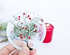 Christmas Decoration  Snow Tree on the glass  Glass by CraftUnikat, $15.00