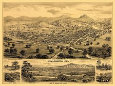 Vintage Map of Healdsburg California 1876 Sonoma County Poster