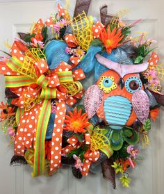 Spring / Summer Mesh Wreath on Etsy, $105.00