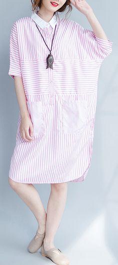 35c58f5b517e04 Plus Size Women Striped Shirt Long Tops Tees Casual Loose Blouses.  SooLinen. Cotton Wedding Dresses ...