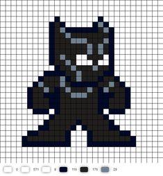 Black Panther Civil War Perler Bead Pattern