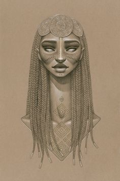 """Nyambi"" by Sara Golish. Charcoal, conté gold ink on toned paper. 20.5"" x 27.5""…"