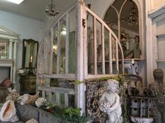 "Large Pair Architectural Arched Windows   Each Half 65"" x 40""  80"" Wide Total  $1195 Pair  Country Garden Antiques 147 Parkhouse  Dallas, TX..."
