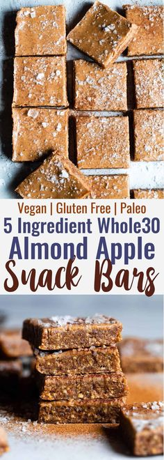Healthy Snacks For Kids No Bake Apple Almond Butter Bars - an EASY, 5 ingredient, salty-sweet and healthy snack that is gluten free, dairy free, sugar free and paleo and compliant! Great for kids and adults! Whole 30 Dessert, Whole 30 Snacks, Whole 30 Breakfast, Whole 30 Recipes, Whole Food Recipes, Snack Recipes, Paleo Breakfast, Whole Food Desserts, Family Recipes