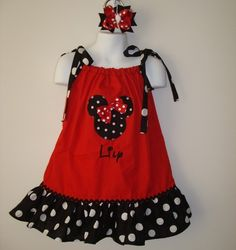 Disney Minnie Mouse Girls Pillowcase Dress Red by preciousbabybows, $35.99,     I love these! I want to get dresses like this for our trip this summer