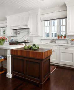 Would love a skinny rustic or old looking cabinet painted a grey with this kind of thick butcher block top so cool!