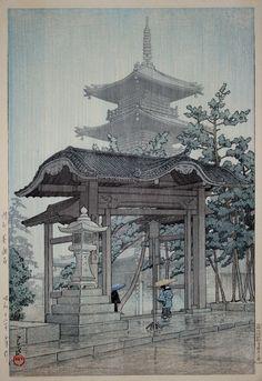 Zentsuji Temple in Rain / Sanshu Zensetsu-ji, by Kawase Hasui, 1937.