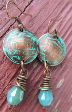 Domed Penny Earrings with wire wrapped beads by WhimsicalArtifacts