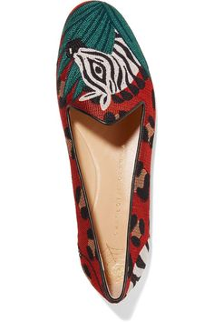 Charlotte Olympia - Animal Kingdom Leather-trimmed Embroidered Canvas Slippers