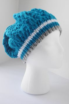 Hand knit turquoise hat, turquoise eyelet slouch, turquoise tam hat