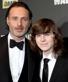 Andrew Lincoln and Chandler Riggs attend AMC's 'The Walking Dead' season 6 fan premiere event at Madison Square Garden on October 9, 2015