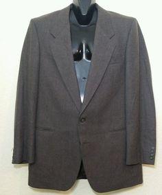Yves Saint Laurent Mens 100% Wool 2 Button Brownish Chalk Stripe Blazer 42L #YSLYvesSaintLaurent #TwoButton