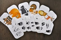 Forest animals tracks puzzle by 2 teaching mommies. Woodland Animals Theme, Woodland Creatures, Forest Animals, Forest Animal Crafts, Forest Crafts, Autumn Animals, Animal Tracks, Nocturnal Animals, Forest Theme