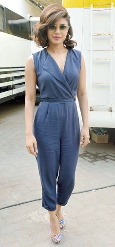 Priyanka Chopra looked chic in a navy blue jumpsuit while promoting 'Dil Dhadakne Do'.