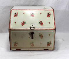 Large Vintage Tin Breadbox With Extra Shelf