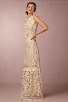 Embroidered high neckline wedding dress: