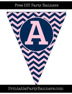 Pink and Navy Blue Pennant Chevron Capital Letter A