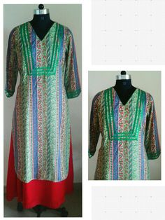 Green printed cotton reyon kurta. Red satin georgette long skirt.  Can be customized in any color. To book your order/any query, contact us: call/whatsapp on +91 9833617147.  Like us? Follow us! https://m.facebook.com/VastranDecorbySoumiyaKhanna  #Fashion #fashionista #fashionblogger #bollywoodfashion #indian #bollywood #stylediva #diva #pretty #boutique #designer #clothing #clothingline #clothingbrand #womenswear #womensbrand #womensfashion #garments #clothes #clothesforsale #hep #wardrobe…