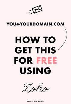 Free you @ your domain email address using this Zoho + Gmail method! #emailmarketing #email custom email address for free