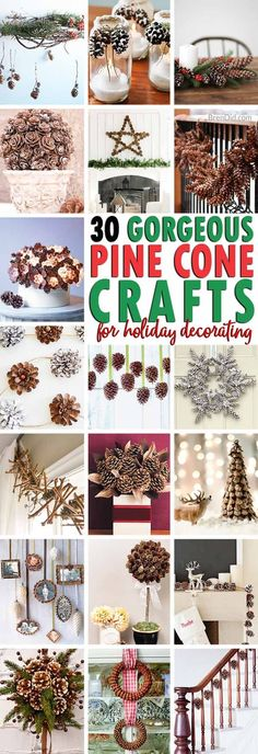 Decorating with pine cones is an easy & affordable way to bring nature indoors. These 30 craft tutorials add pine cones to holiday decor. Crafts 30 Gorgeous Crafts for Decorating with Pine Cones Pine Cone Art, Pine Cone Crafts, Christmas Projects, Fall Crafts, Holiday Crafts, Christmas Diy, Christmas Wreaths, Crafts For Kids, White Christmas