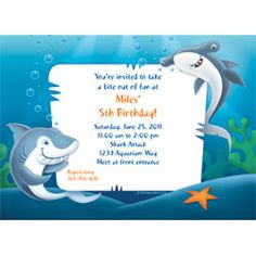 Celebrate with the Sharks Personalized Invitation for your party. Find amazing selections & prices on all birthday decorations & supplies at Birthday in a Box. Happy Birthday Invitation Card, Kids Birthday Party Invitations, 6th Birthday Parties, Birthday Ideas, Personalized Invitations, Custom Invitations, Birthday Template, Shark Party, Sharks