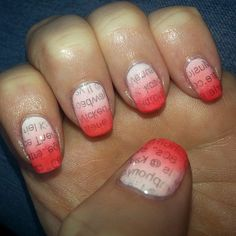 newspaper nails with an ombre twist