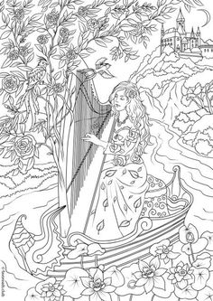 Harp Player - Printable Adult Coloring Page from Favoreads (Coloring book pages for adults and kids, Coloring sheets, Coloring designs) Detailed Coloring Pages, Fairy Coloring Pages, Printable Adult Coloring Pages, Cool Coloring Pages, Christmas Coloring Pages, Colouring Sheets For Adults, Coloring Sheets, Coloring Books, Kids Coloring