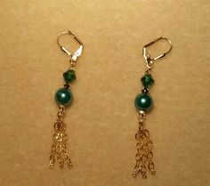 Teal crystals & pearls with gold chains dangle earrings