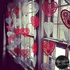 Cheap Valentine's Day Decorations - Paper Doilie Garland - Because I'm Cheap - - I made this garland for our windows overlooking downtown to decorate for Valentine's Day. I kept the curtains open during the day so the winter sun could. Diy Valentines Day Wreath, Valentine Crafts For Kids, Valentines Day Weddings, My Funny Valentine, Valentines Day Party, Valentines Day Decorations, Valentine Box, Printable Valentine, Homemade Valentines