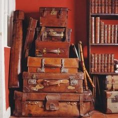 Displaying a beautiful collection of vintage leather books and bags - The Polohouse: Collections