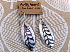 Silver Earrings with Hand Printed Feather Oblong- SALE - see Listing for Coupon Codes..